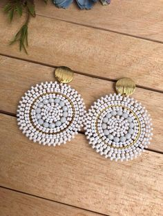 Ear Jewelry, Bead Jewellery, Beaded Jewelry, Bridal Earrings, Bead Earrings, Earrings Handmade, Handmade Jewelry, Bridal Jewelry Vintage, Simple Jewelry