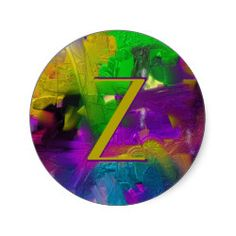 Colorage Customizable Abstract Classic Round Sticker. Change the letter to your own initial. Cool gifts with many uses.