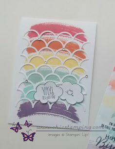 Happy birthday rainbow card and tag - Chic Stamping Happy Birthday Rainbow, Rainbow Card, Diy Gift Box, Tampons, Over The Rainbow, Scallops, Cool Cards, Stampin Up Cards, Card Ideas