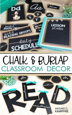 Bulletin boards, labels, binder covers, posters, and management 5th Grade Classroom, Classroom Setup, Classroom Design, Future Classroom, School Classroom, Chalkboard Classroom, Teacher Bulletin Boards, Classroom Decor Themes, School Themes