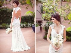 2014 new a-line Inspired v-neck Wedding Dress lace with appliques - Couture Wedding Gown vestido de noiva $159.00