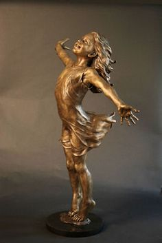 Joyful - Angela Mia De La Vega - Elegant Bronze Figurative Sculpture