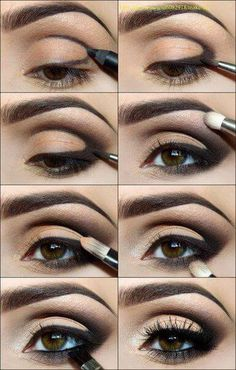 Outlined eyelids, eyeshadow applied and mascara to finish