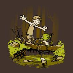A Star Wars t-shirt featuring a Luke Skywalker and Yoda in a style very reminiscent of Calvin and Hobbes. Art by DJKopet. Star Wars Fan Art, Droides Star Wars, Star Wars Toys, Star Wars Humor, Star Wars Comics, Calvin And Hobbes, Camisa Star Wars, Jouet Star Wars, Star Wars Art