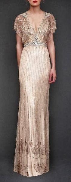 Jenny Packham sequins cream dress