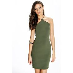 Boohoo Tall Tall Marce Strappy Bodycon Dress (125 VEF) ❤ liked on Polyvore featuring dresses, khaki, special occasion dresses, evening dresses, green cami, green dress and layering cami