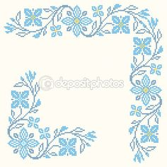 Stock vector of 'Design elements for cross-stitch embroidery in Ukrainian traditional ethnic style. Cross Stitch Heart, Cross Stitch Borders, Cross Stitch Flowers, Cross Stitch Designs, Cross Stitch Patterns, Embroidery Patterns Free, Cross Stitch Embroidery, Hand Embroidery, Graph Paper Art