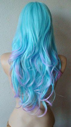Blue/ Purple wig. Long wavy hair with long side bangs by kekeshop, $97.50