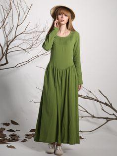 Green linen dress maxi dress long dress women dress by xiaolizi