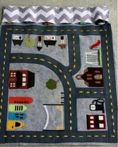 Now if only I was talented and could make these! Perfect thing to take to a restaurant! Road themed page for quiet book Sewing Toys, Baby Sewing, Sewing Crafts, Sewing Projects, Sewing Ideas, Baby Crafts, Felt Crafts, Sewing For Kids, Diy For Kids