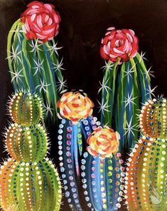 Painting Parties in Tempe, AZ - Kunstwerke - How to Paint Neon Cacti Alcohol Policy BYOB is strictly for classes after BYOB is limited to b - Neon Cactus, Cactus Art, Cactus Plants, Cactus Painting, Diy Painting, Spring Painting, Acrylic Painting Canvas, Art Adulte, Tableau Pop Art