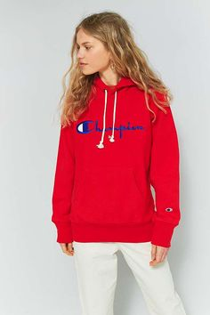 Slide View: 1: Champion - Sweat à capuche rouge avec grand logo