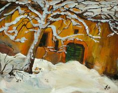 Basement Entrance   Acrylic Streetscape with Snow   Original Acrylic Painting   Dora Stork   Encaustic Artist Basement Entrance, Stork, Acrylic Paintings, Recovery, College, Artist, University, Artists, Survival Tips