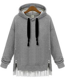 Buy Plain Hooded Sweatshirt Dress Side Zip Patchwork Clothes Lace Up Drawstring Hoodie Poleron Mujer 2019 Tunic Long Sleeve Women - grey hoodie - and Find more Women's Hoodies & Sweatshirts enjoy up to off. Hoodie Sweatshirts, Sweatshirts Online, Grey Sweatshirt, Zip Hoodie, Sweat Shirt, Fashion Sweatshirts, Sweatshirt Dress, Grey Shirt, Plus Size Hoodies