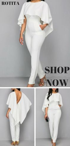 Zipper Closure White Open Back Jumpsuit.Solid white jumpsuit,you deserve it. Wedding Jumpsuit, African Dress, I Dress, African Fashion, Ideias Fashion, Fashion Dresses, Cute Outfits, Clothes For Women, Stylish