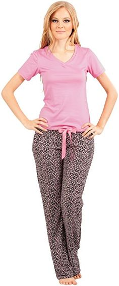 22b5e544ecc Adriana Arango Women Pajamas Top Pants Sleepwear Set Pink Medium  7536 at Amazon  Women s Clothing