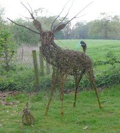willow sculpture of a deer