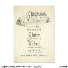 Fairytale - Story Book Old Castle Vintage Wedding Card Fairy tale wedding invitation.