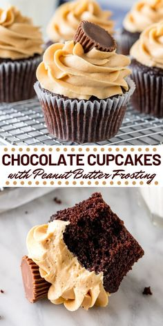 Chocolate Cupcakes with Peanut Butter Frosting - - Super soft, perfectly moist Chocolate Cupcakes with Peanut Butter Frosting. If you love peanut butter cups - then these chocolate peanut butter cupcakes are for you! Homemade Chocolate Cupcakes, Chocolate Peanut Butter Cupcakes, Chocolate Flavors, Chocolate Recipes, Chocolate Cupcakes Decoration, Frosting For Chocolate Cupcakes, Chocolate Chocolate, Frost Cupcakes, Yummy Cupcakes