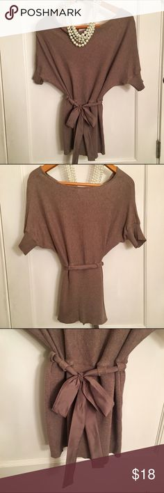 FINAL $ALE - Charlotte Russe Belted Sweater Charlotte Russe Short Sleeve Belted Sweater in Light mocha. Runs on the smaller side. S/M Charlotte Russe Tops Tunics