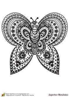Coloriage d'une mandala complexe en forme de papillon.