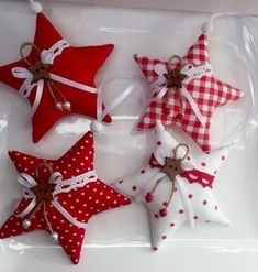 - Set of 4 Christmas Tree Tilda Deco Sta 4 Pcs.- Set of 4 Christmas Tree Tilda Deco Star Star Christmas Decorations Sewing, Sewn Christmas Ornaments, Easy Christmas Crafts, Christmas Sewing, Christmas Fabric, Felt Ornaments, Homemade Christmas, Christmas Wreaths, Advent Wreaths