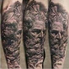 What does poseidon tattoo mean? We have poseidon tattoo ideas, designs, symbolism and we explain the meaning behind the tattoo. Zeus Tattoo, Poseidon Tattoo, Lion Tattoo, God Tattoos, Tattoos For Guys, Tattoos Pics, Egypt Tattoo, Gangsta Tattoos, Arm Tats