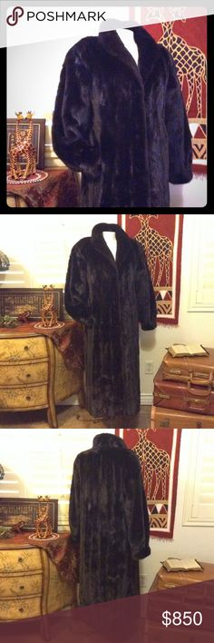 "Full Length Short Hair Mink Coat Excellent condition, vintage, hidden pockets, dark short hair mink, hidden hinged clasps, Joyous Mahaffey embroidered inside the coat. No size tag, measures about 21""across the back between armholes, about 50"" long. Vintage Jackets & Coats"