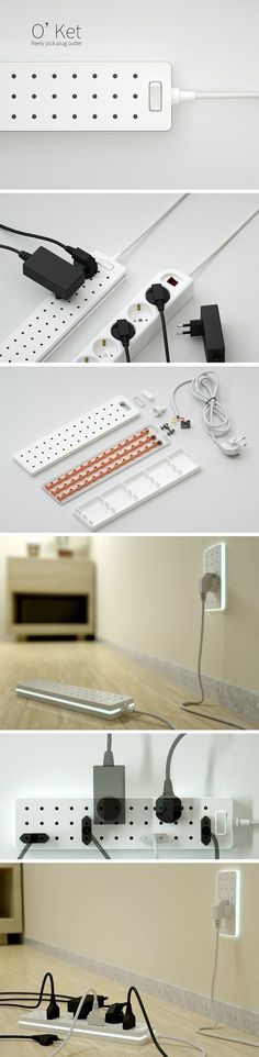 If you've ever used a power strip or extension cord, you know that it can be a crazy game of Tetris with all those awkward shaped plugs! Designed with this problem in mind, the O'ket power strip makes it possible to combine and switch up your plug arrangements. The sockets are perfectly spaced to accommodate varying sizes and shapes. Place your plugs horizontally or vertically to make room for more!
