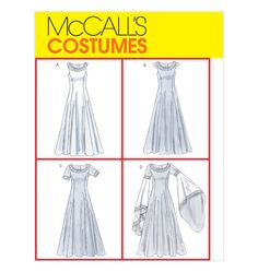 Misses' Costumes McCall's 4491  Maid Marian Ren Faire Dress princess lines scoop neck. funnel sleeve option. 2004
