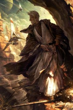 Silent Guardian-Obi Wan art by Raymond Swanland of Magic The Gathering-available for sale at ArtInsights