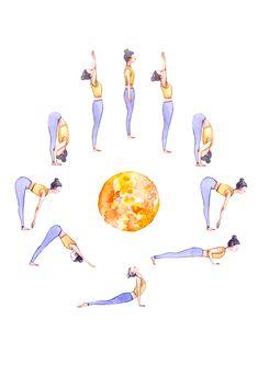 Sun Salutation A Illustration Sport Motivation, Yoga Flow, Yoga Meditation, Namaste, Yoga Art, Yoga Illustration, Surya Namaskar, Yoga Photos, Yoga Routine