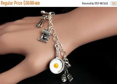 MOTHERS DAY SALE Cooking Bracelet. Cooking Charm Bracelet. Chef Bracelet. Silver Bracelet. Cook Bracelet. Food Jewelry. Handmade Jewelry. by GatheringCharms from Gathering Charms by Gilliauna. Find it now at http://ift.tt/2pMBoeX!