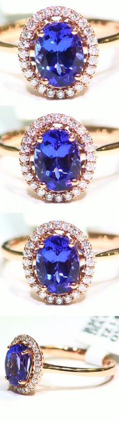 Rings 165014: 2.04Ct 14K Gold Natural Tanzanite White Cut Diamond Vintage Aaa Engagement Ring -> BUY IT NOW ONLY: $1041 on eBay!
