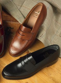 The Harvard Loafer in Tan Pebble Grain and Black Suit Shoes, Men's Shoes, Shoe Boots, Dress Shoes, Best Shoes For Men, Formal Shoes For Men, Loafer Shoes, Loafers Men, Gentleman Shoes