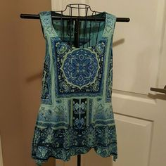 """Sparkly party top! Stretch fabric lays beautifully.  Length on sides 33"""".  Lovely print with rhinestones. Dress Barn Tops Blouses"""