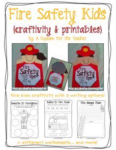 A Cupcake for the Teacher: Fire Safety Kids {Craftivity & Printables} Plus a Freebie