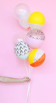 Graphic painted party balloons.