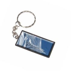 Snow Covered Mountain Slope Snowboarding Skiing Keychain Key Chain Ring, Silver