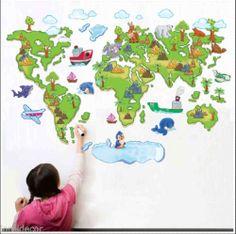 Pegatinas infantiles decorativas Mapamundi Med80*120cm Mural Mapa Mundi Infantil. Un mural infantil perfecto para que sus hijos aprendan a diferenciar los distintos países y continentes.