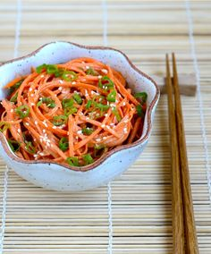 Asian-style peanut butter carrot salad: carrots, smooth peanut butter, water, cider vinegar, soy sauce, sugar, chili sauce, sesame oil, scallion