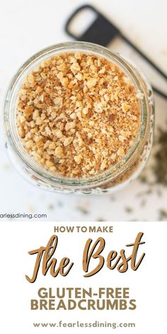 This homemade gluten free bread crumbs recipe has easy to follow step by step directions. Making breadcrumbs from scratch is so much cheaper than buying them. Lots of optional flavor combinations to make your gluten free recipes turn out great. Do a larger grind for gluten free panko. Good Gluten Free Bread Recipe, Gluten Free Bread Crumbs, Best Gluten Free Recipes, Gluten Free Desserts, Gluten Free Dinner, Simple Recipes, Bread Recipes, Food Processor Recipes