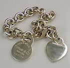 Tiffany  Co Sterling Silver Two Tags Heart  RETURN TO TIFFANY Charm Bracelet