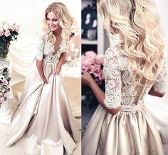 Elegant 2017 Long Sleeve A Line Prom Dresses Satin Formal Evening