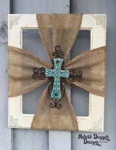 Ceramic Cross | Burlap Trim | Wood Frame | Home Decor | Rustic | Religious | Blue Cross | Faith | #0100 by MarceeDuggarDesigns on Etsy
