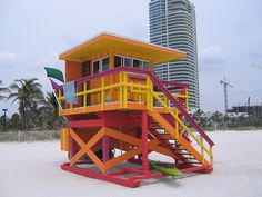 new lifeguard towers 007 Lifeguard Chair, Beach Lifeguard, Miami Beach Hotels, Tower Building, Beach Huts, Beach Images, Baywatch, Cabana, Acrylics