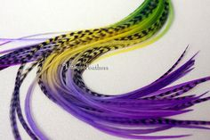 Feather Accessories for Hair Feather Extensions Lime Green Bright Yellow Purple Rasberry Ombre Hair Extension Feathers Real - 10 Pack Measuring