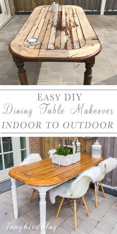 How I used an old wood dining table outside Turn your indoor table into an outdoor table. Create a cheap garden table by repurposing in old indoor table for use outside. See my tips on how to paint an indoor table for outdoor use. Refurbished Kitchen Tables, Old Kitchen Tables, Painted Kitchen Tables, Painted Patio Table, Wooden Outdoor Table, Wooden Garden Table, Wood Patio, Outdoor Tables And Chairs, Picnic Tables