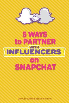 Do you want to increase your companys visibility on Snapchat?  Snapchat influencers can help you connect with your target audience in a creative and entertaining way that improves awareness and messaging.  In this article youll discover five ways to par