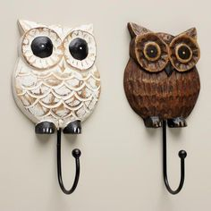 Wood Owl Hooks, Set of 2